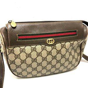 GUCCI Old Gucci Webbing line GG Plus Pochette Shou